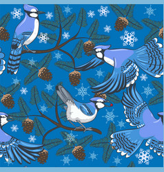 Winter seamless pattern with blue jays and fir vector