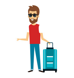 Young man with suitcase avatar character vector