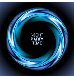 Abstract blue swirl circle on black background vector image vector image