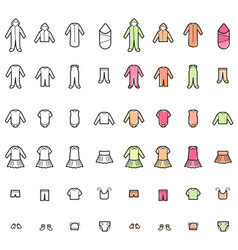 baby clothes line icons set vector image