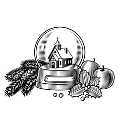 Christmas still life black and white vector image