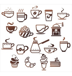 Coffee and tea cups set icons collection vector image vector image