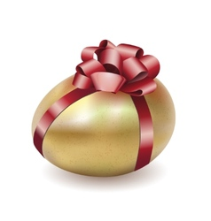 Easter gold egg with red bow and ribbon vector image vector image
