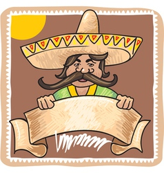 Mexican man with banner vector