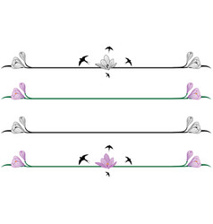 set of borders with crocuses vector image