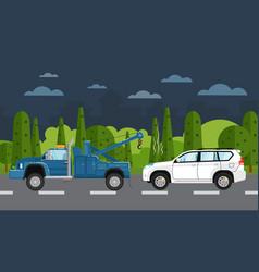 tow truck evacuating broken car vector image