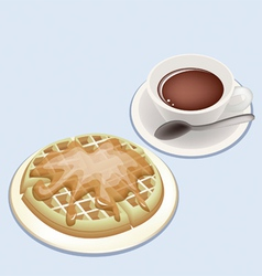 A Smoking Hot Coffee with Round Waffles vector image vector image