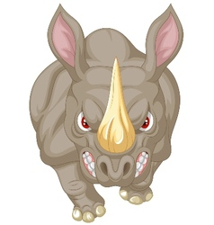 Angry rhino cartoon character vector image