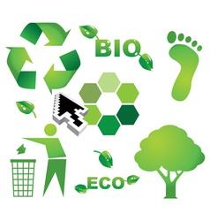 Bio eco icon symbols vector image vector image