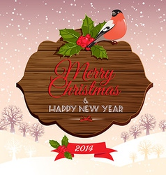 Christmas signboard with holly berry and bullfinch vector image