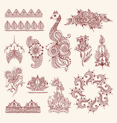 floral mehendi flowers vintage pattern ornament vector image