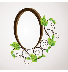 green flower label design vector image vector image
