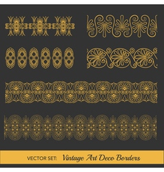 Set of Vintage Borders - in Art Deco Style vector image vector image