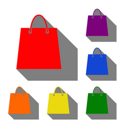 shopping bag set of red orange vector image vector image