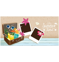 Suitcase and Summer Objects with Frame vector image vector image