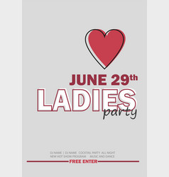 template for ladies night party with line sign - vector image vector image