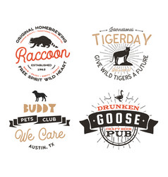 wild animal badges set and great outdoors activity vector image