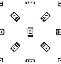 mobile phone with photo pattern seamless black vector image vector image