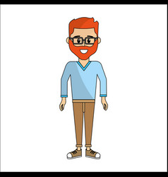 people man with casual cloth and glasses avatar vector image