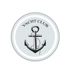 yacht club logo anchor on a white vector image