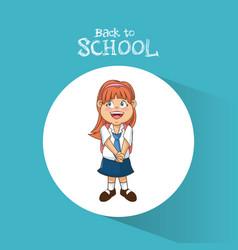 back to school student girl diadem smile uniform vector image