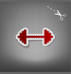 dumbbell weights sign red icon with for vector image vector image