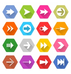Flat arrow icon set hexagon web button vector