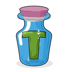 Letter in a laboratory bottle T in magic bottle vector image vector image