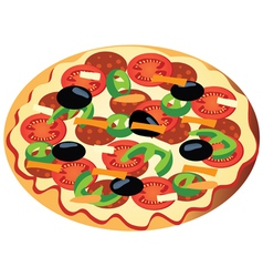 pizza with olives vector image vector image