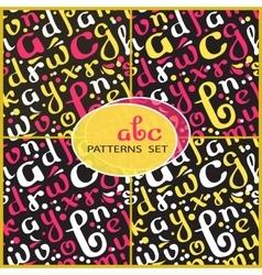 Seamless patterns set with handwritten alphabet vector image