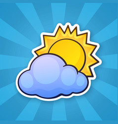 0734 sticker sun cloud vector image
