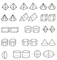 3d geometric shapes vector