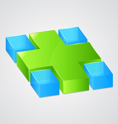 Abstract web green cross vector image