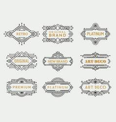 art deco labels frames vintage luxury cafe vector image