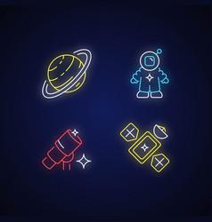 Astronautic neon light icons set vector