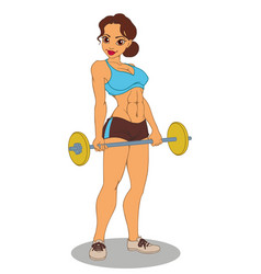 athletic sexy girl with a barbell vector image