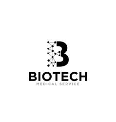 B bio tech logo designs for dna molecule medical vector