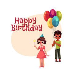 black boy with balloons and caucasian girl in vector image