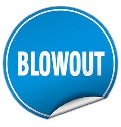 Blowout round blue sticker isolated on white vector