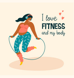Body positive happy plus size girl and active vector