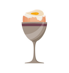 Boiled egg in stand vector