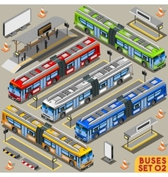 Bus Set 02 Vehicle Isometric vector