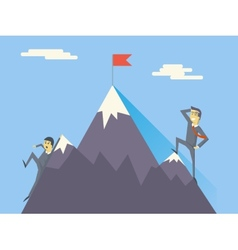 Businessman Characters Achievement Top Flag vector
