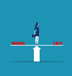 Businesswoman standing on scale in words work and vector