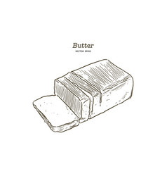 butter hand draw sketch vector image