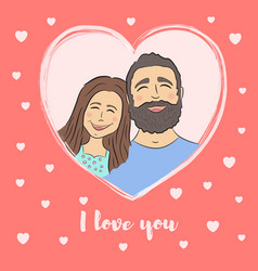 card for valentines day couple on heart frame vector image