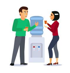 cartoon characters people around water cooler vector image