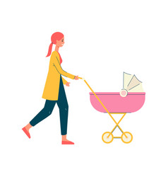 cartoon mother walking and pushing a pink pram vector image
