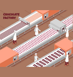chocolate factory isometric background vector image