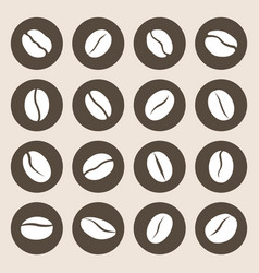 coffee beans flat icon set caffeine symbol vector image